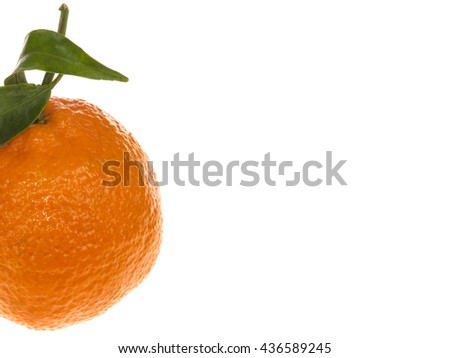 Creative Image of a Single Fresh Ripe Clementine Orange Fruit For Healthy Eating and Living Against a White Background With Copy Space - stock photo