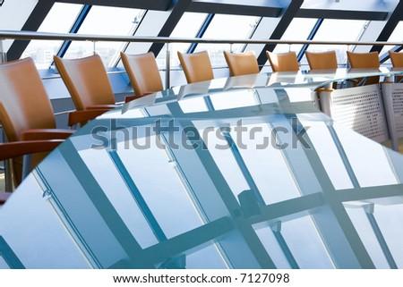 Creative image of empty boardroom meeting area - stock photo