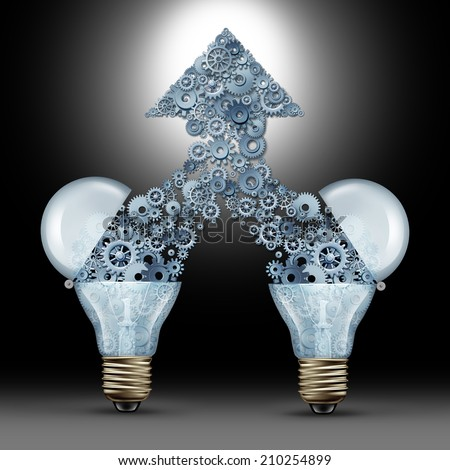 Creative innovation success as two open glass light bulbs releasing gears and cogs coming together in the shape of an upward arrow as a symbol of brainstorming new ideas and technology development. - stock photo