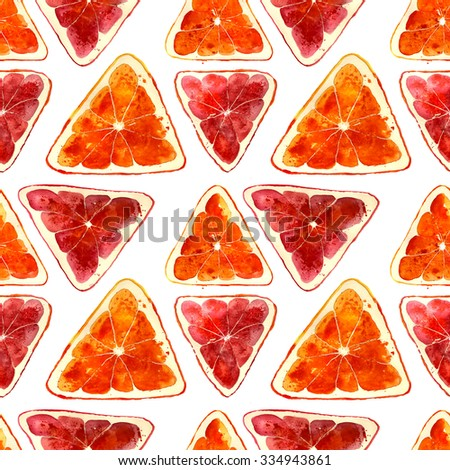 creative juicy pattern: triangle oranges and grapefruits, hand-drawn watercolor - stock photo