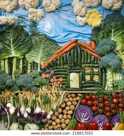 Creative landscape made with assorted organic vegetables. - stock photo