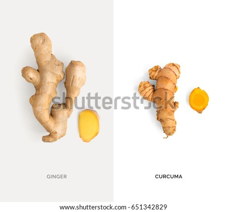 Creative layout made of ginger and turmeric. Flat lay. Food concept.