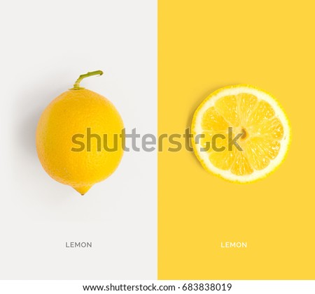 Creative layout made of lemon. Flat lay. Food concept.