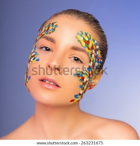 Creative makeup - stock photo