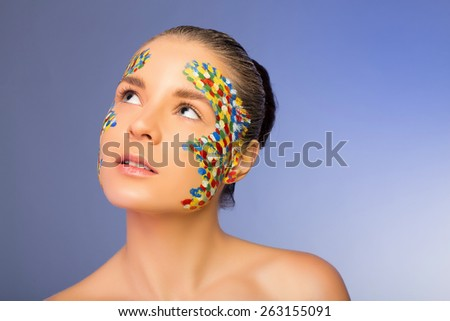 Creative makeup in studio. look up - stock photo