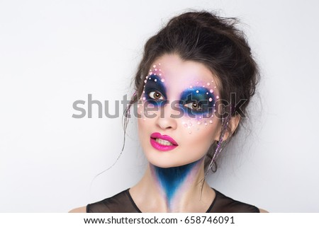Professional Blue Makeup Hairstyle On Beautiful Stock Photo ...