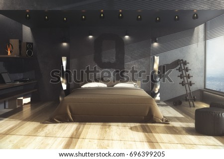 Creative male grungy gangster bedroom interior with furniture and daylight  Home  concept  3D Rendering. Creative Male Grungy Gangster Bedroom Interior Stock Illustration