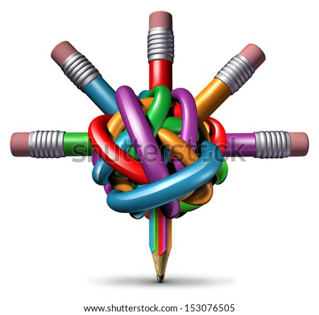 Creative management and leadership business concept as a group of tangled confused color pencils focused on clear managed direction for team strategy resulting in imagination and innovation success. - stock photo
