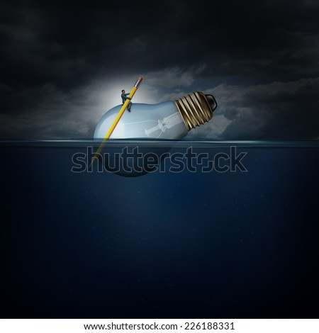 Creative manager concept as a person with a pencil paddle guiding a giant lightbulb floating on water as a success business metaphor for managing idea development. - stock photo