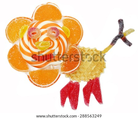 creative marmalade candy sweet child dessert lion form                                - stock photo
