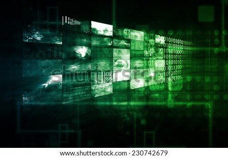 Creative Media and Digital Content Network as Art - stock photo