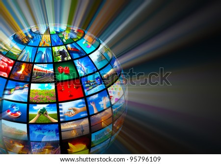 Creative media technologies concept: glowing sphere with images on black background - stock photo