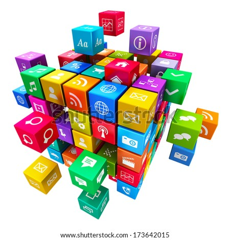 Creative mobile applications, media technology and internet networking web communication concept: colorful metallic cube with cloud of color application icons isolated on white background - stock photo