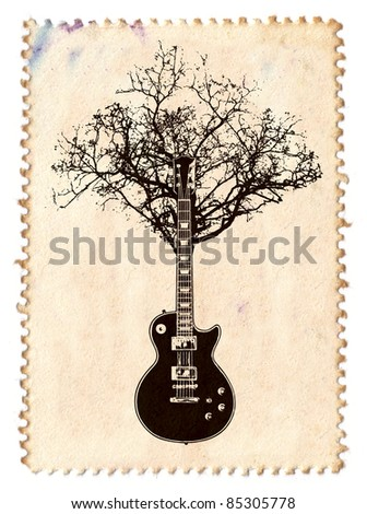 creative music stamp with guitar and tree - stock photo