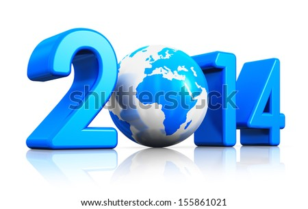 Creative New Year 2014 beginning celebration concept with blue glossy Earth globe isolated on white background with reflection effect - stock photo