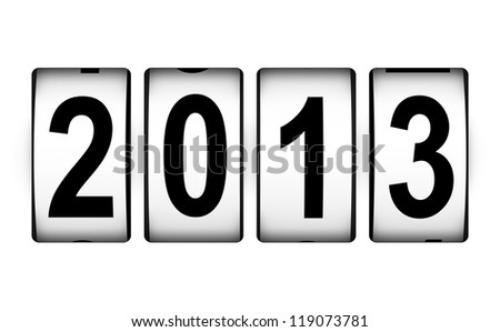 Creative New Year 2013 concept isolated on white background - stock photo