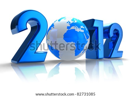Creative 2012 New Year concept with blue Earth globe isolated on white reflective background - stock photo