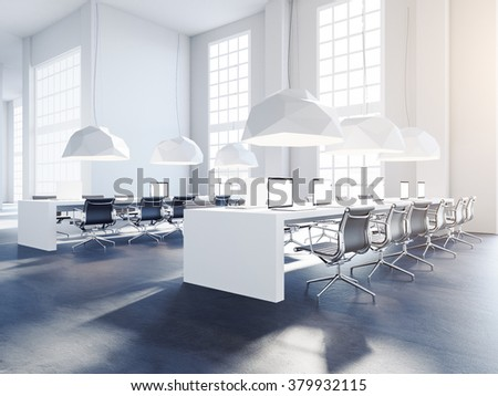 Creative office interior with chairs and tables. Sun flares from windows. 3d render - stock photo