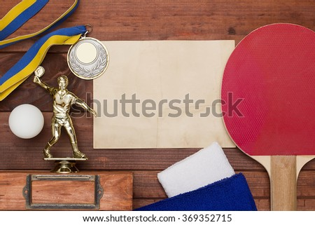 Creative on the topic of table tennis with the inventory, and premium character. - stock photo