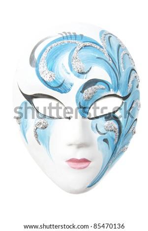 Creative painted female mask isolated over white - stock photo