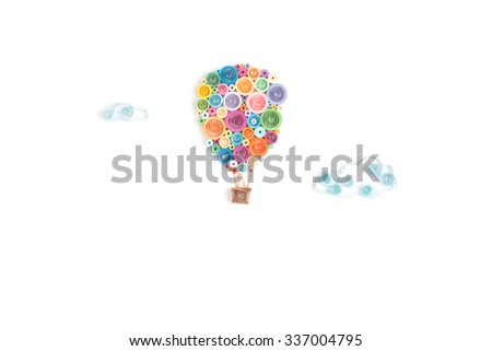 Creative paper baloon on a white background. Quilling - stock photo