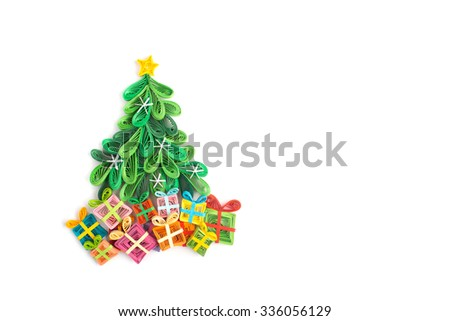 Creative paper Christmas tree on a white background. Quilling  - stock photo