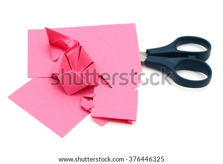 Creative paper origami toy on white - stock photo