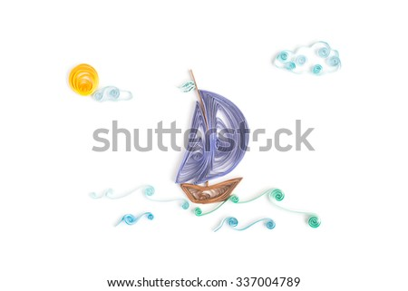 Creative paper seascape on a white background. Quilling  - stock photo