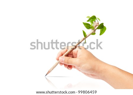 creative pencil with green tree on white backgorund - stock photo