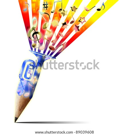 creative pencil with musical instrument and music notes isolate on white - stock photo