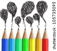 Creative pencils with abstract speech bubbles isolated on white background. - stock vector