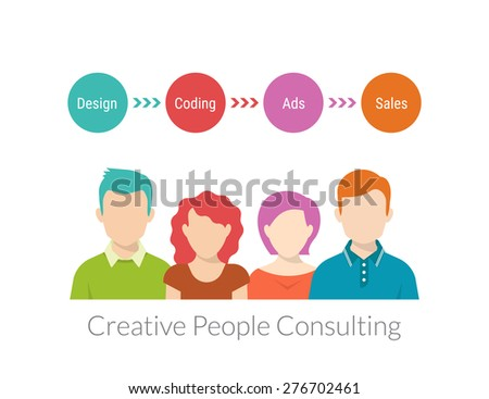 Creative people consulting with timeline. Free font Roboto Condensed - stock photo