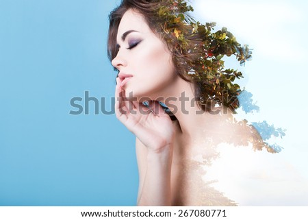 Creative portrait double exposure effect. Portrait of a beautiful woman. Concept of dreams. - stock photo