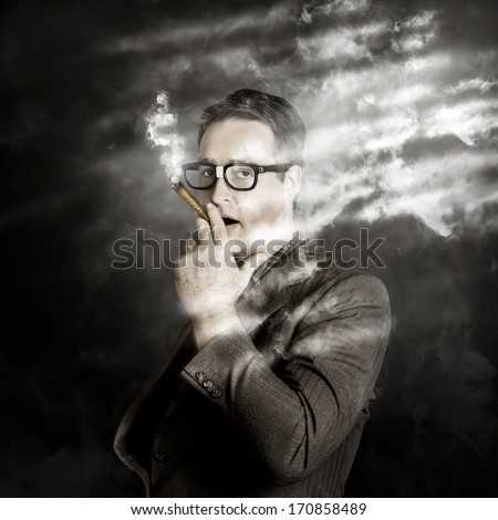 Creative portrait of a successful millionaire business man smoking up a dollar sign symbol from money made cigars. Rolling rich - stock photo