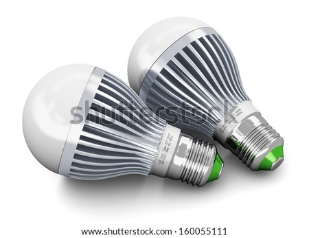 Creative power saving and energy conservation industry business ecological concept: group of two metal LED electric lamps isolated on white background - stock photo