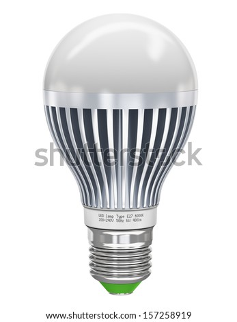 Creative power saving and energy conservation industry business ecological concept: metal LED electric lamp isolated on white background - stock photo