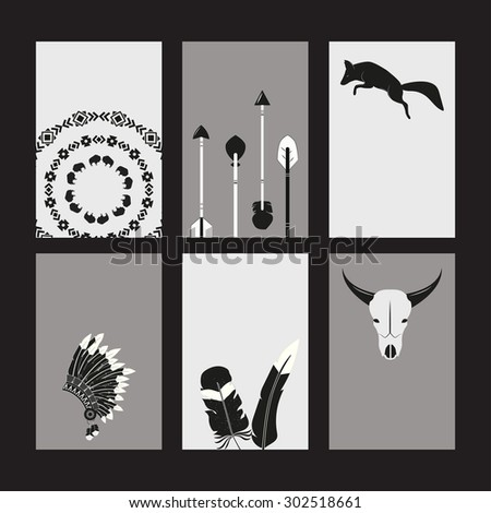Creative printable cards set with tribal animals, objects and ornaments ( raster version) - stock photo