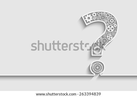 Creative Question mark with gears for your design - stock photo