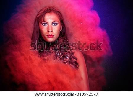 creative red female powder explosion - stock photo
