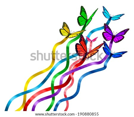 Creative release concept as a group of butterflies as colors of the rainbow with silk ribbons attached creating new marketing promotions spreading the message as a symbol of communication diversity. - stock photo