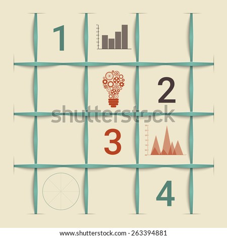 Creative retro style squers infographic template. - stock photo