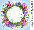 creative round banner with exotic tropical flower frame - stock vector