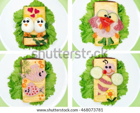 creative sandwich with cheese and sausage birds love form