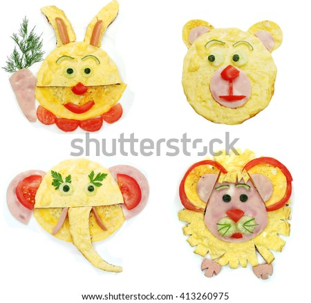 creative scrambled egg breakfast made of cooked omelet hare shape - stock photo