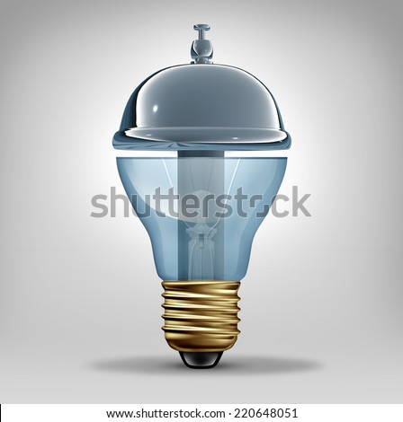 Creative services concept as a three dimensional lightbulb shaped as a customer hospitality service bell as a business symbol for providing innovative ideas and art direction communication - stock photo