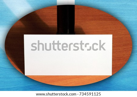 Creative set of mockup, template visit card on wood background with invert vignette.