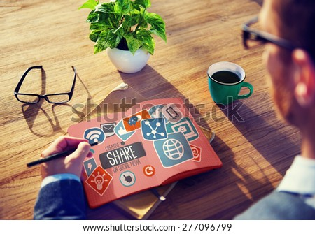 Creative Share Social Media Social Network Internet Online Concept - stock photo