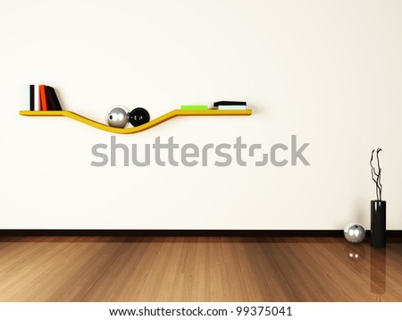 creative shelf on the white wall.3d rendered. - stock photo