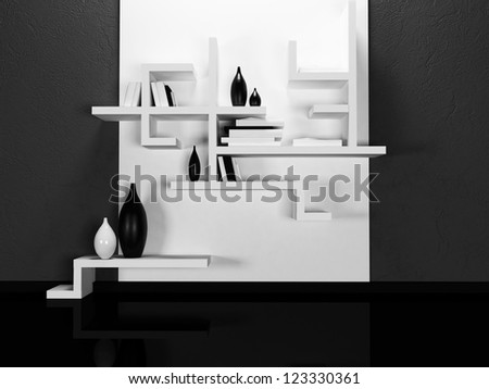 creative shelves on the dark  wall, rendering - stock photo