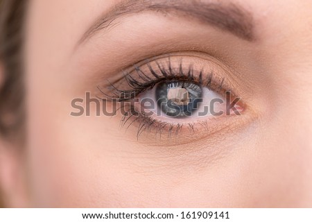 Creative shoot of woman eye with knock reflection. Idea of household crime